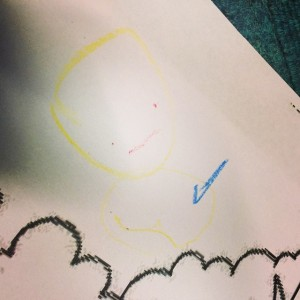 Bene drew this very carefully and said 'Smile... Face!'