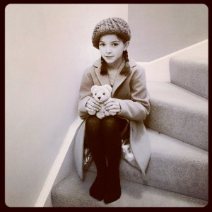 One little evacuee heading off for a day of spam sandwiches and gas mask practice.